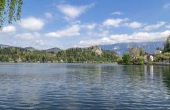 Lago sangrado en Eslovenia, primavera 2015 Foto de archivo