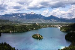 Lago sangrado, Eslovênia, Europa Fotografia de Stock Royalty Free