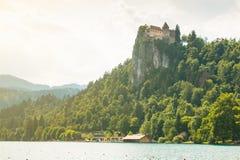 Lago sanguinato con il castello sanguinato in Slovenia Immagini Stock Libere da Diritti
