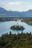 Lago sanguinato con la bella isola Fotografia Stock Libera da Diritti