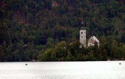 Lago sanguinato con la chiesa sull'isola, Slovenia, Europa Immagini Stock Libere da Diritti
