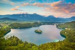 Lago sanguinato in Julian Alps, Slovenia Fotografie Stock Libere da Diritti
