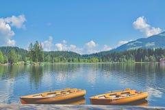 Lago Schwarzsee, Kitzbuehel, Tirolo, alpi, Austria Immagine Stock