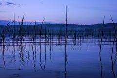 Lago sereno y brumoso después de fuertes lluvias Fotografía de archivo libre de regalías