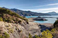 Lago Serre-Poncon - Alpes - Francia Immagine Stock Libera da Diritti