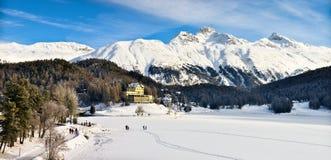 Lago St Moritz en invierno Imagen de archivo libre de regalías