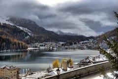Lago St Moritz no outono Imagens de Stock Royalty Free