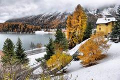 Lago St Moritz no outono Fotos de Stock Royalty Free