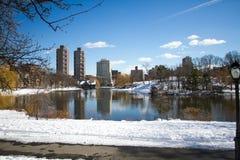 Lago, strada ed alberi reflection al Central Park ed alle costruzioni immagini stock libere da diritti