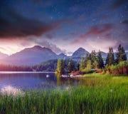 Lago Strbske Pleso in alta montagna di Tatras, Slovacchia, Europa Fotografia Stock Libera da Diritti