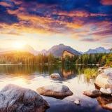 Lago Strbske Pleso in alta montagna di Tatras, Slovacchia, Europa Immagine Stock Libera da Diritti