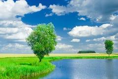Lago su un campo orizzontale Fotografia Stock
