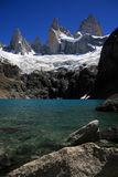 Lago Sucia and Mount Fitz Roy, Argentina. Portrait shot of Lago sucia, the Fitz Roy Range, glacier and clear blue sky near El Chalten, Patagonia, Argentina clear Stock Images