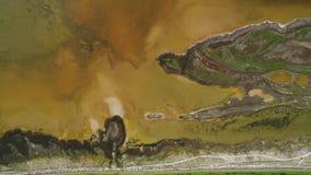 Lago sucio brown con la orilla modelada tiro Vista superior de la superficie modelada de orillas pantanosas y del lago ?cido marr almacen de metraje de vídeo