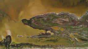 Lago sucio brown con la orilla modelada tiro Vista superior de la superficie modelada de orillas pantanosas y del lago ?cido marr almacen de video