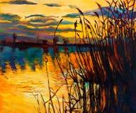 Lago sul tramonto Fotografia Stock