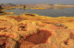 Lago sulphur em Dallol Fotos de Stock