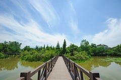 Lago summer con el puente Imagenes de archivo