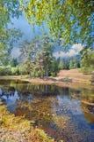 Lago summer con la isla Imagen de archivo libre de regalías