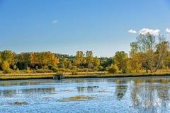 Lago Sun y abedul blanco en el otoño Imagenes de archivo