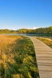 Lago Sun y trayectoria del tablón en el otoño Fotografía de archivo