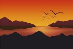 Lago sunset Immagine Stock