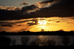 Lago sunset foto de stock
