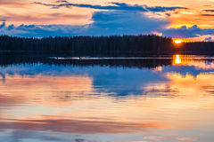 Lago sunset Foto de archivo libre de regalías