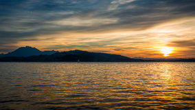 Lago sunset Immagine Stock