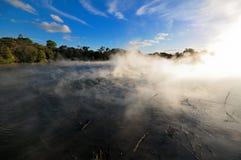 Lago térmico no parque de Kuirau em Rotorua imagem de stock