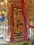 LAGO TANA, ETIOPIE, il 21 aprile 2019, affreschi religiosi sulla parete di Tana Hayk Eysus United Monastery, il 21 aprile 2019, l fotografia stock libera da diritti