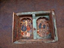 LAGO TANA, ETIOPIE, o 21 de abril 2019, fresco religiosos na parede de Tana Hayk Eysus United Monastery, o 21 de abril 2019, lago fotos de stock