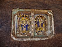 LAGO TANA, ETIOPIE, o 21 de abril 2019, fresco religiosos na parede de Tana Hayk Eysus United Monastery, o 21 de abril 2019, lago foto de stock