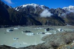 Lago Tasman di Aoraki Mt Cuoco National Park Immagini Stock