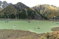 Lago Tasman em Nova Zelândia Fotografia de Stock