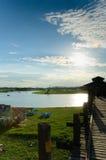 Lago Taungthaman e ponte del u-Bein Fotografia Stock