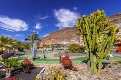 Lago Taurito aquapark和旅馆的建筑学大加那利岛的 库存图片