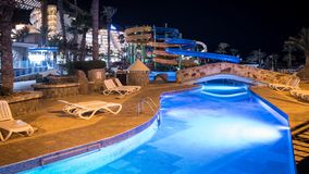 Lago Taurito basen w nocy, Mogan, Gran Canaria, Hiszpania obraz royalty free