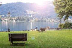Lago Tegernsee e montagne dell'alpe Immagine Stock Libera da Diritti