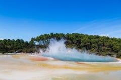 Lago termico famoso Champagne Pool nel paese delle meraviglie del thermanl di Wai-O-Tapu nel Distretto di Rotorua immagini stock libere da diritti