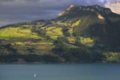 Lago Thunersee con la barca switzerland Immagini Stock Libere da Diritti