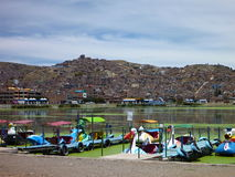 Lago titicaca with boats in puno Royalty Free Stock Photos