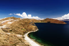 Lago Titicaca, Bolivia, paesaggio del Isla del Sol Fotografia Stock