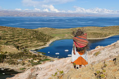 Lago Titicaca, Bolivia, paesaggio del Isla del Sol Fotografie Stock Libere da Diritti
