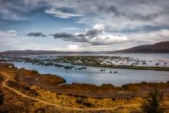 Lago Titicaca con le rive gialle fotografia stock libera da diritti