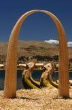 Lago Titicaca, Peru, consoles de flutuação Uros Fotografia de Stock