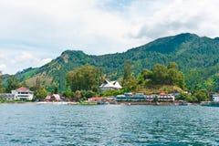 Lago Toba na área de Parapat, Sumatra Fotografia de Stock