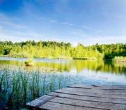 Lago tranquilo en el bosque imagen de archivo