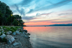 Lago Trasimeno & x28; Umbria& x29; Panorama Fotografie Stock Libere da Diritti