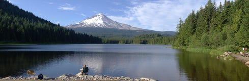 Lago Trillium e panorama del cappuccio di Mt., Oregon. Fotografia Stock